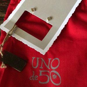NWT Uno De 50 Square Stud Earrings